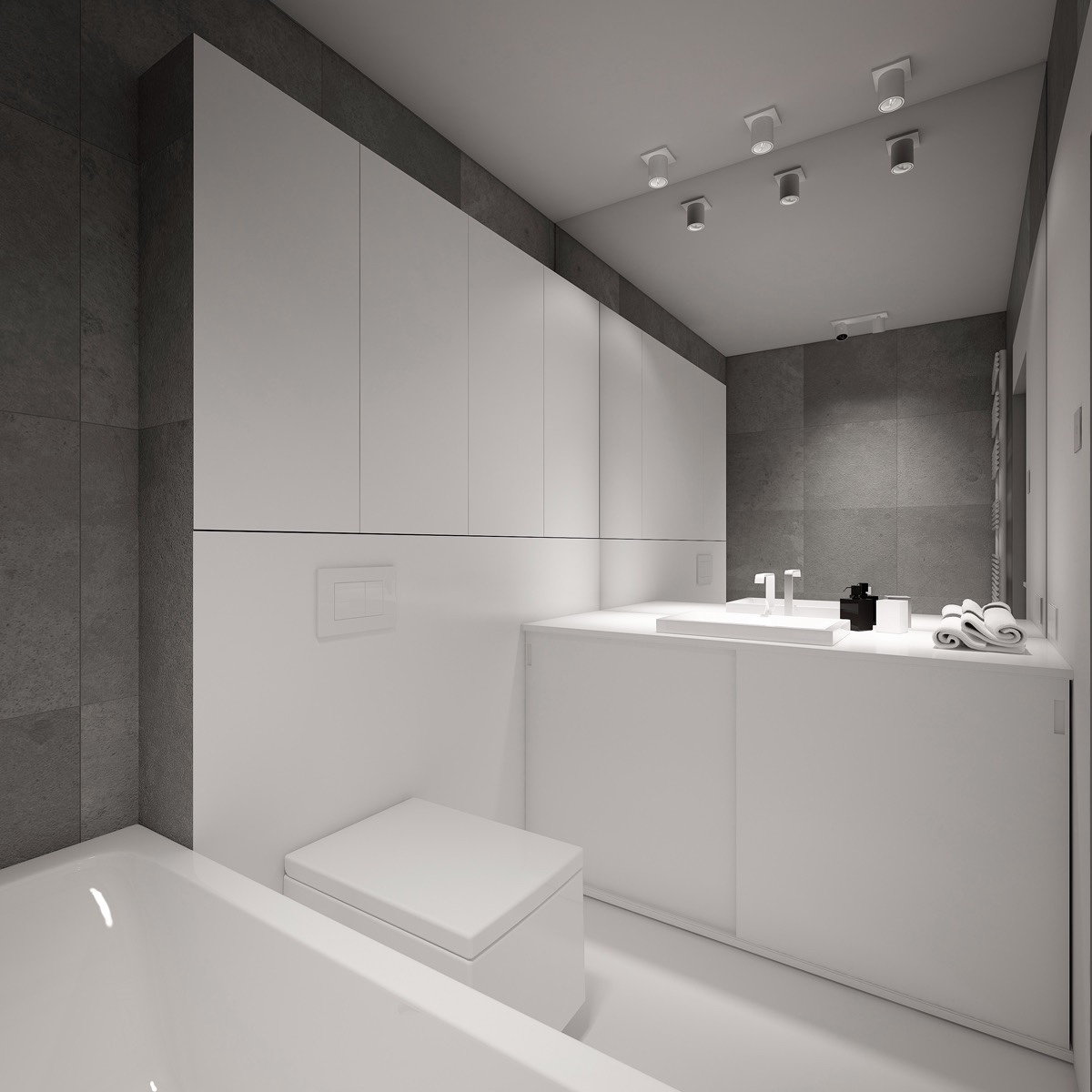 white walls run through to the bathroom through the use of high cabinetry with