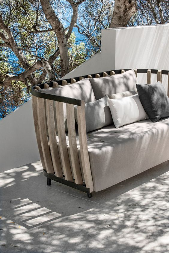eye-catchy wooden sofa with grey upholstery