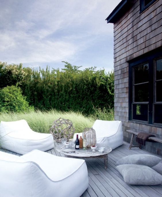 comfy bean bag loungers look cool and are great for outdoor spaces with no pools