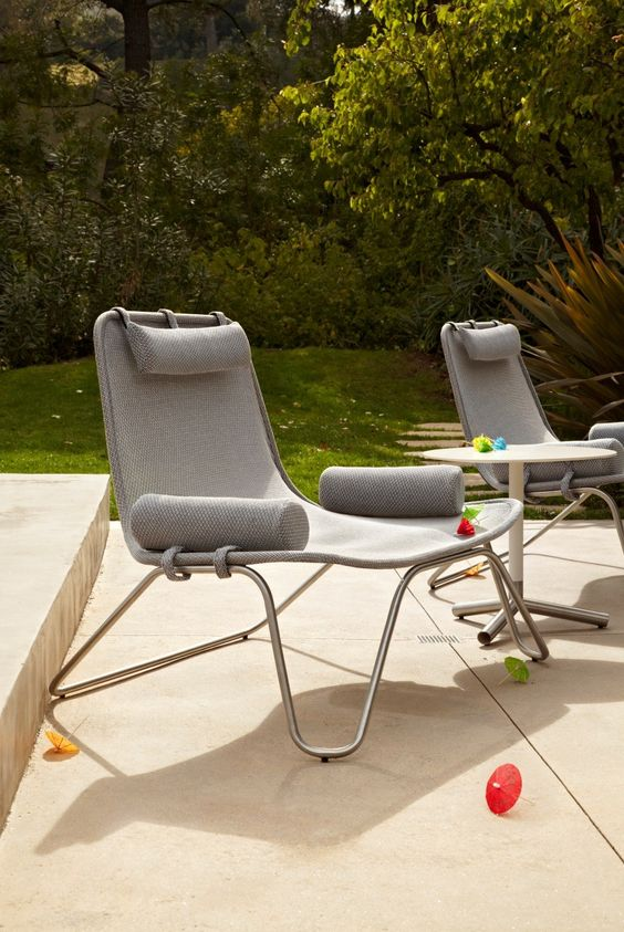 modern loungers on metal framing and with practical grey upholstery