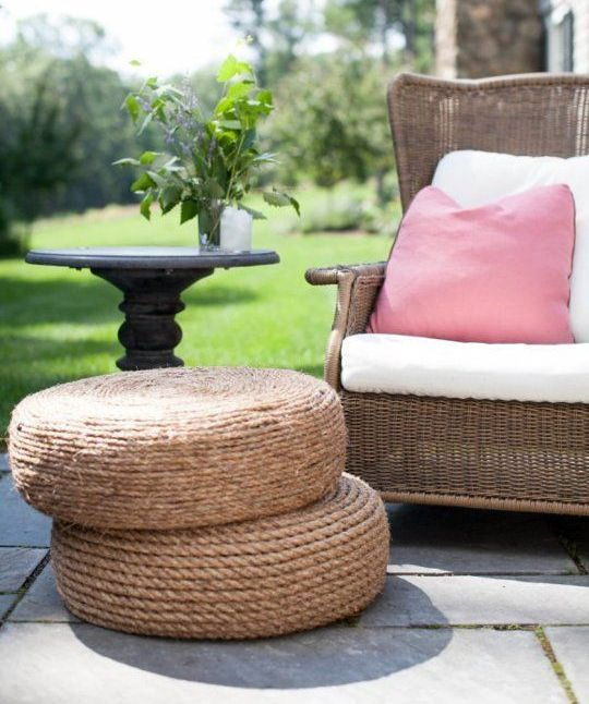 flat round rope ottomans are practical and fit many spaces