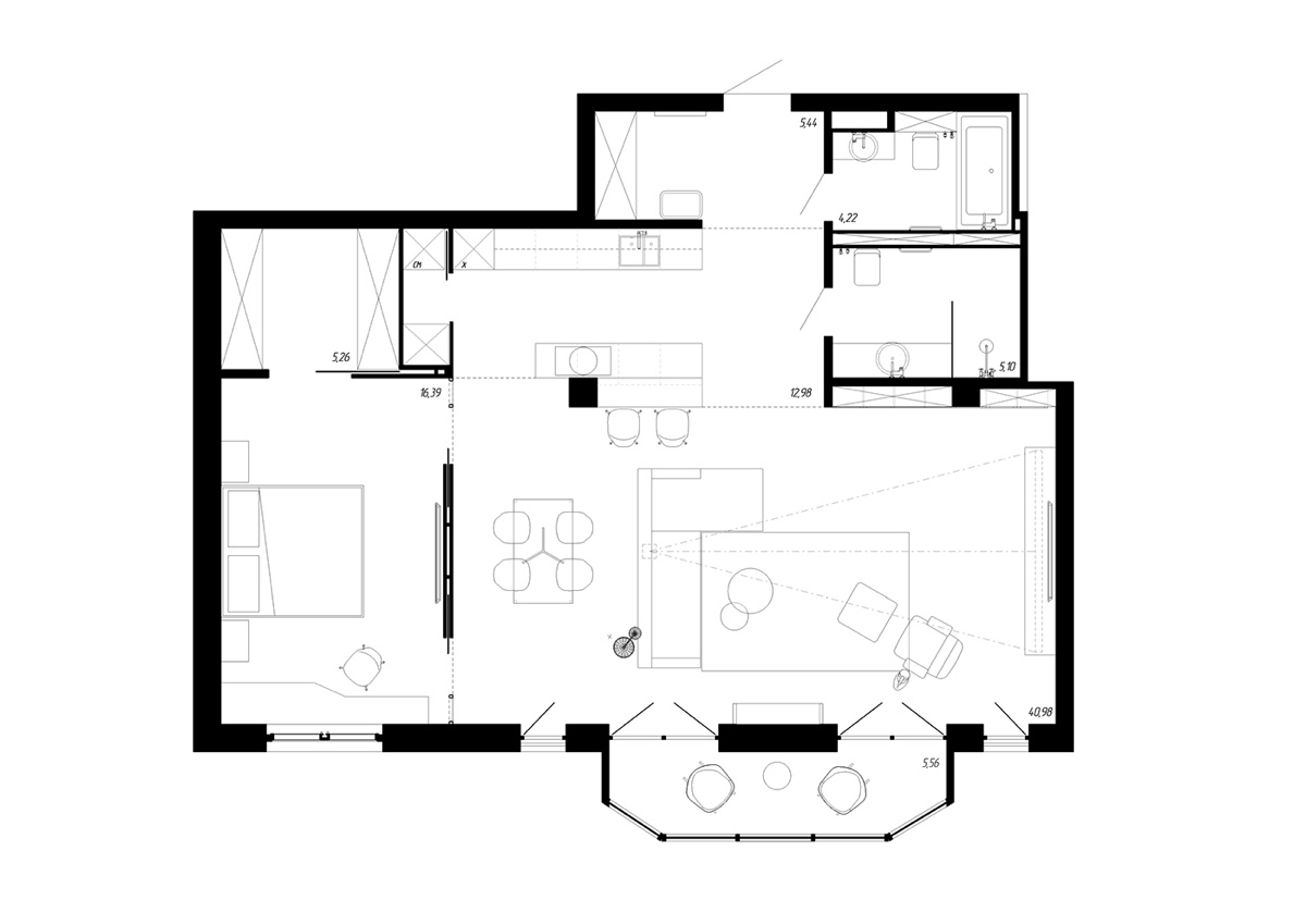 A Beautiful One Bedroom Bachelor Apartment Under 100 Square Meters With Floor Plan Best Interior Design Ideas