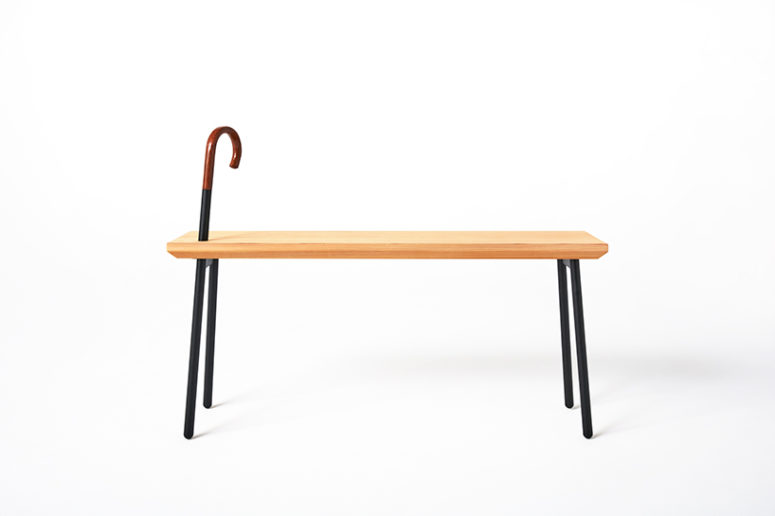 The dōzo bench comes in 3 individual styles, each with an different cane head design